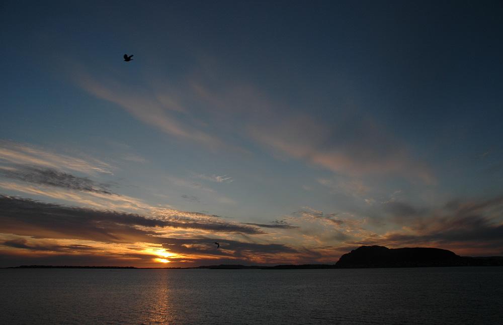 Midnight sun in Nordland, Norway.