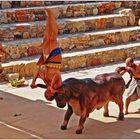 minoisches Tanztheater in Karteros, Kreta, Sprung über den Stier