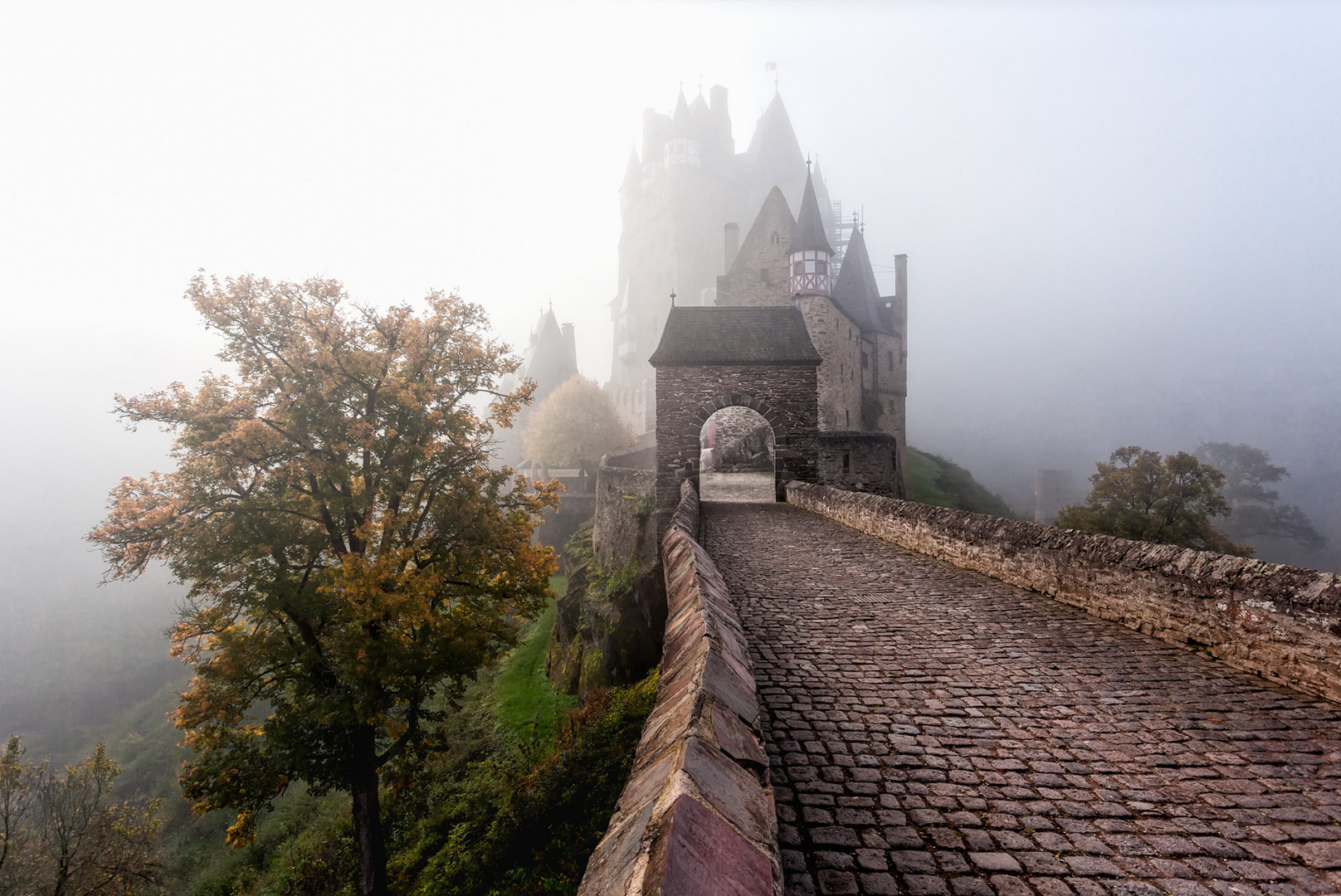 Misty scene at Burg Eltz