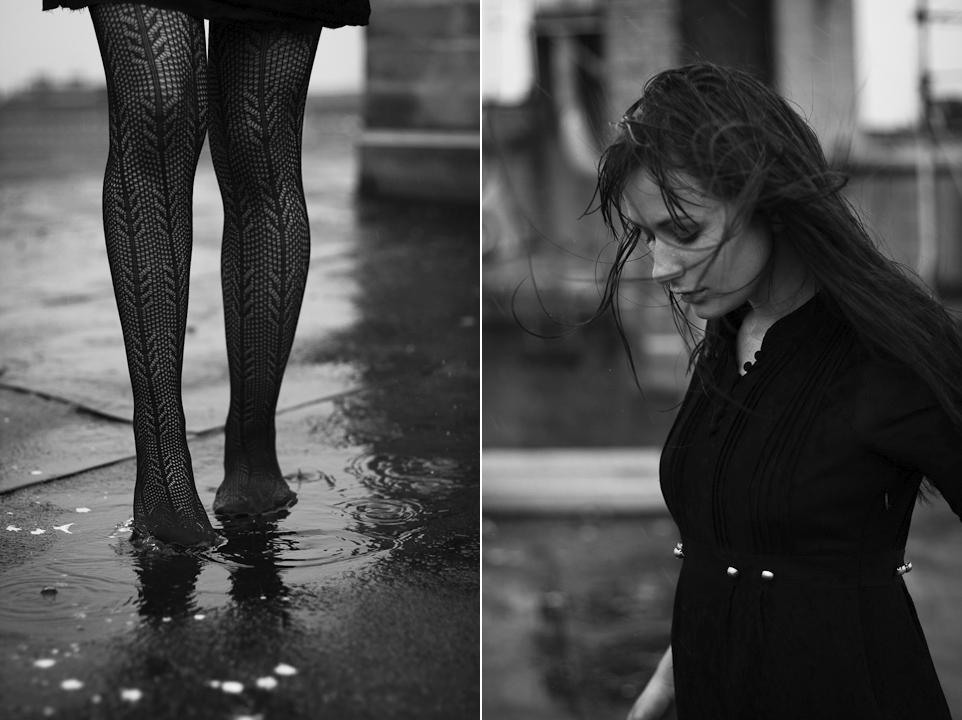 Mit den Fingerspitzen die Regenlinien auf deinem Hals entlangfahren