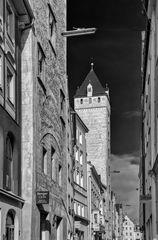 mittelalterlicher strassenzug inkl 60iger jahre strassenbeleuchtung