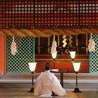 Miyajima, Shintopriester beim Gebet