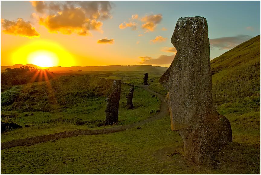 Moais watching Sunset #1, Rano Raraku, Rapa Nui