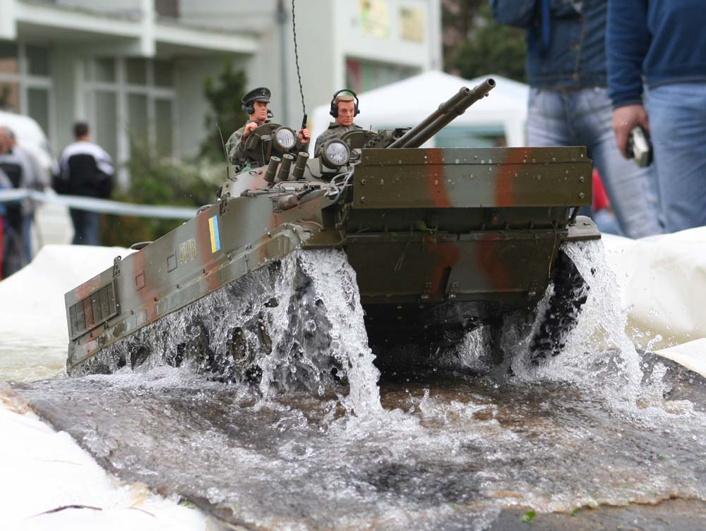 Model tank leaving pool