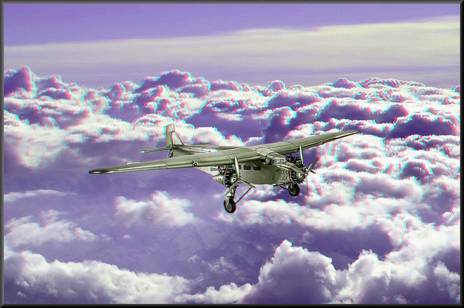 Modellflugzeug über den Wolken – eine Fotomontage –