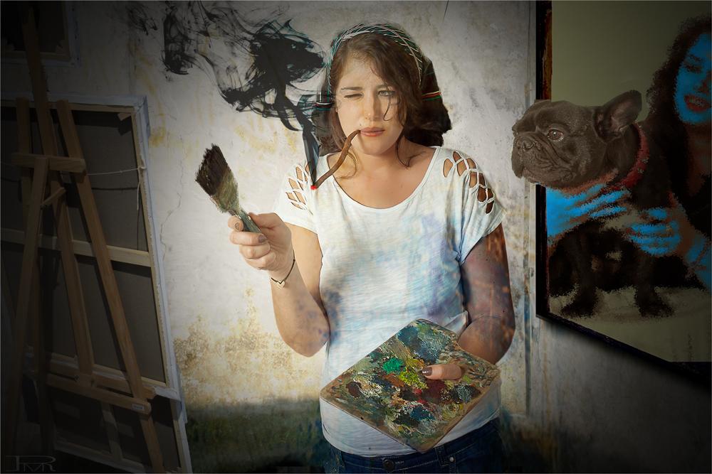""""""" ModernArting """" - model, Selbstportrait mit Hund"""