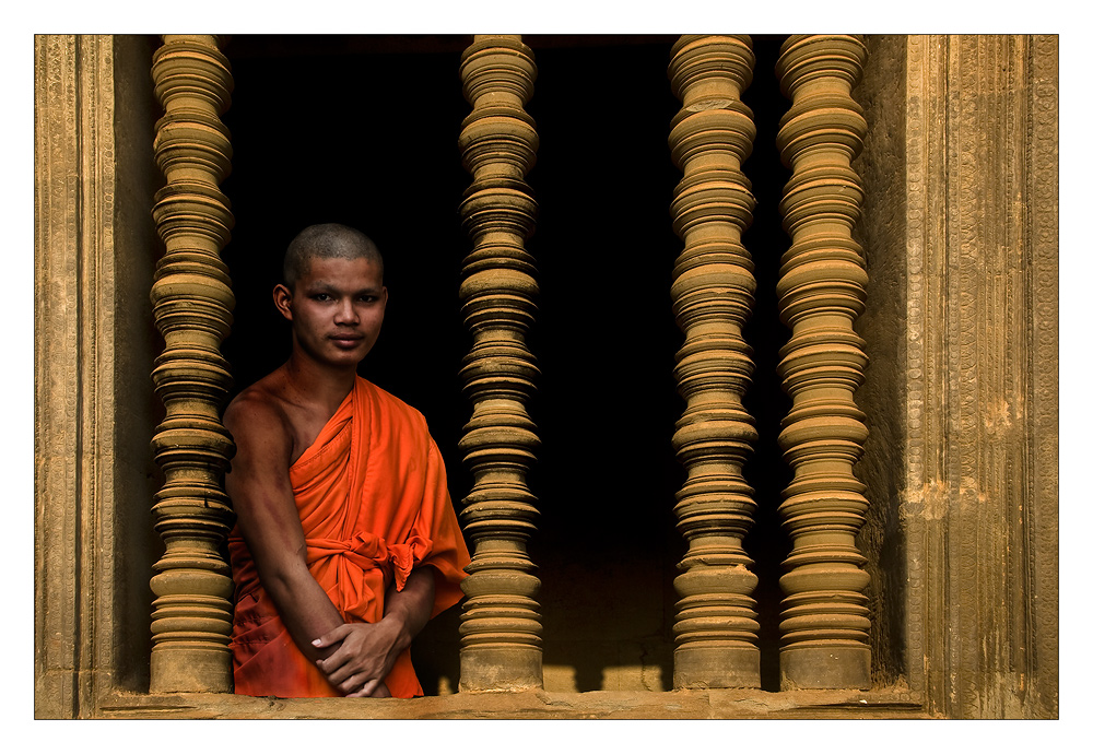 Mönch in Angkor Wat
