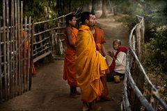 Mönche bei morgendlichem Almosengang
