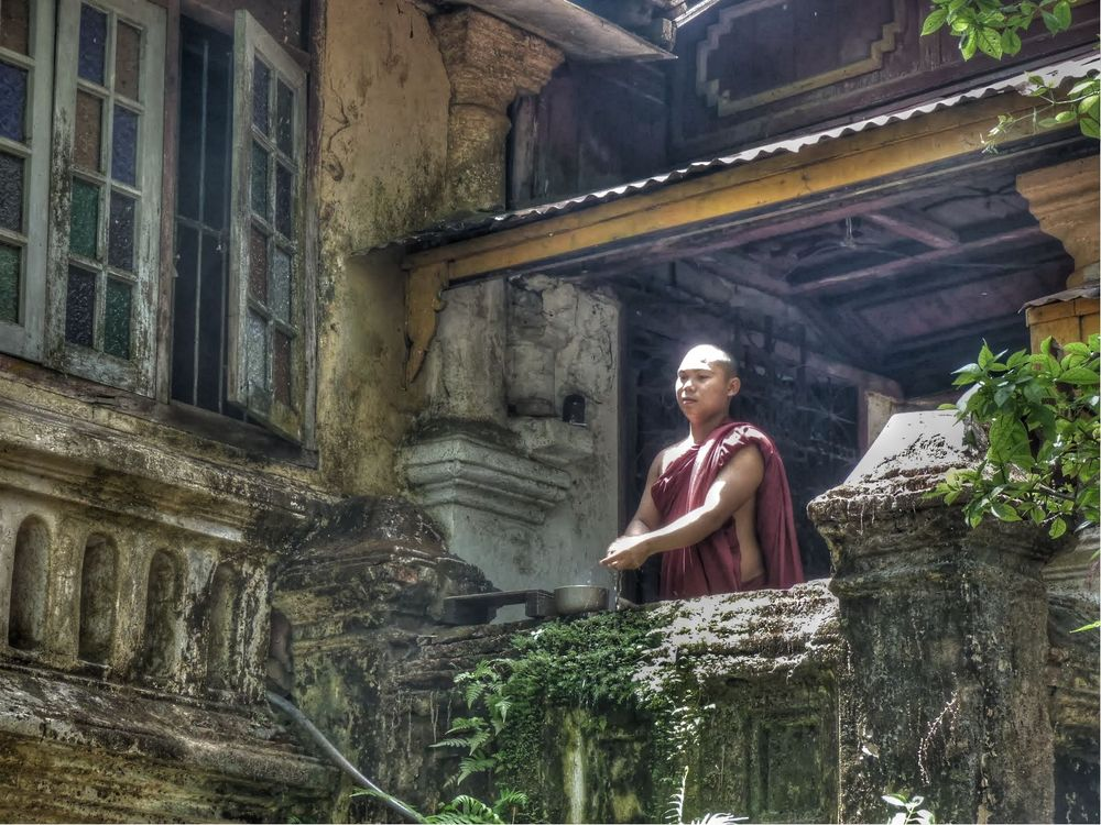 moine à sa terrasse