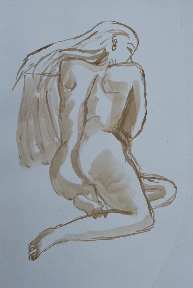 mon dessin de dos nu de femme : autoportrait ?