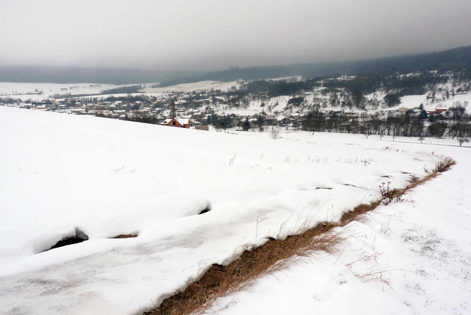 Mon village sous la neige