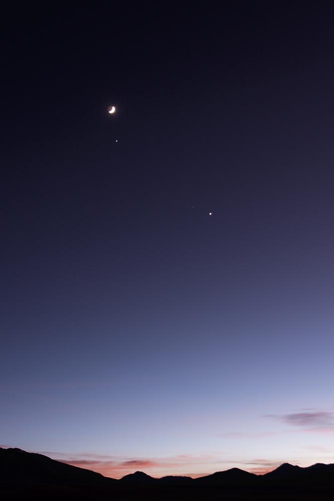 Mond, Jupiter, Venus