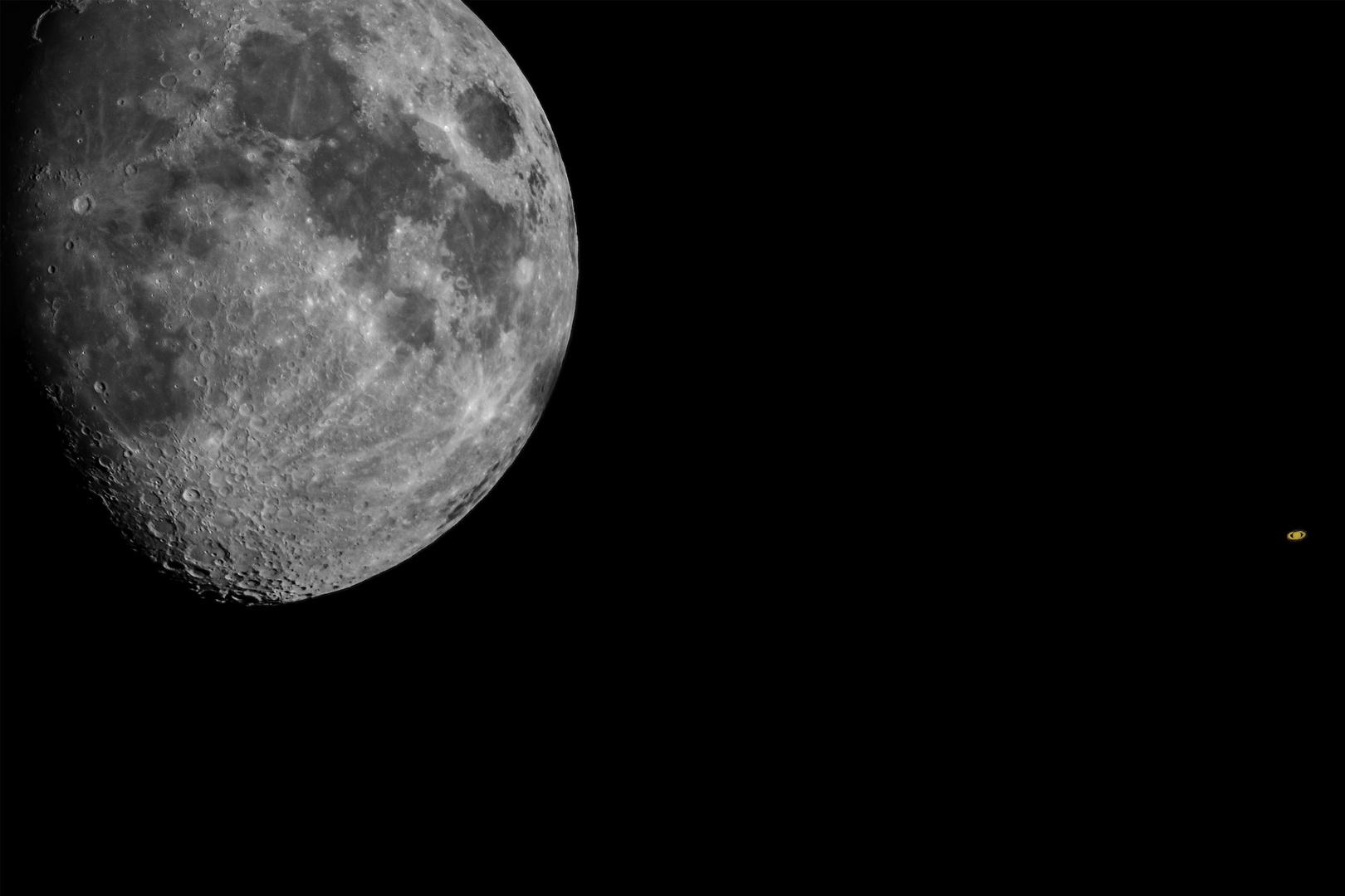 Mond und Saturn Begegnung