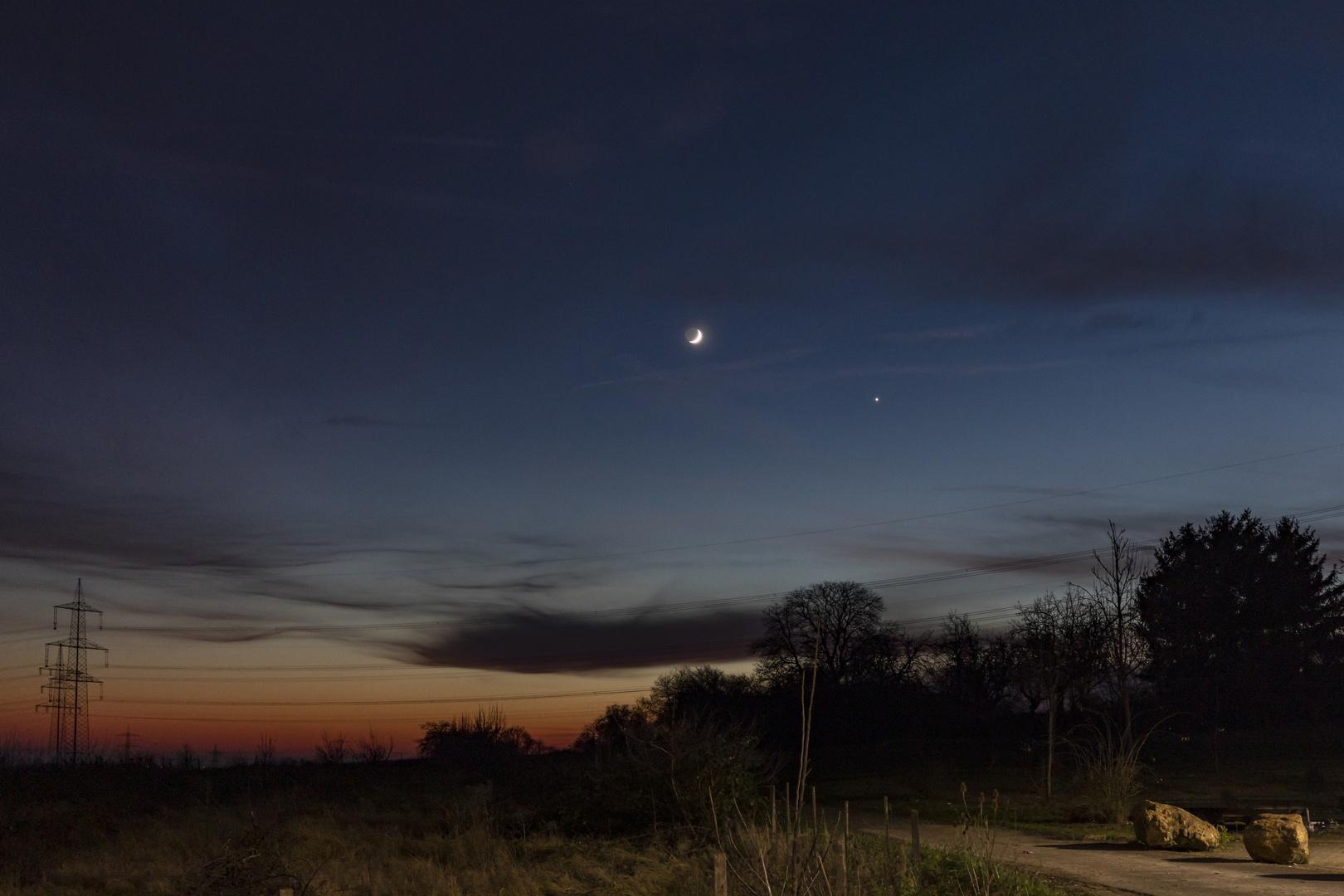 Mond und Venus am Abend