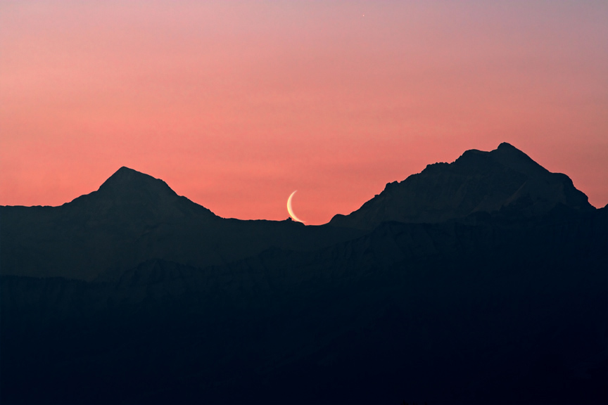 Mondaufgang über dem Jungfraujoch
