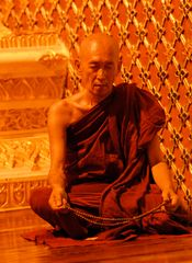 Monk in Shwedagon Pagoda