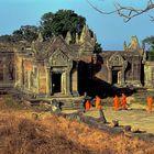Monks entering the Gopura colplex at Preah Vihear
