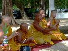 Monks on the beach Wat Na PhraLan