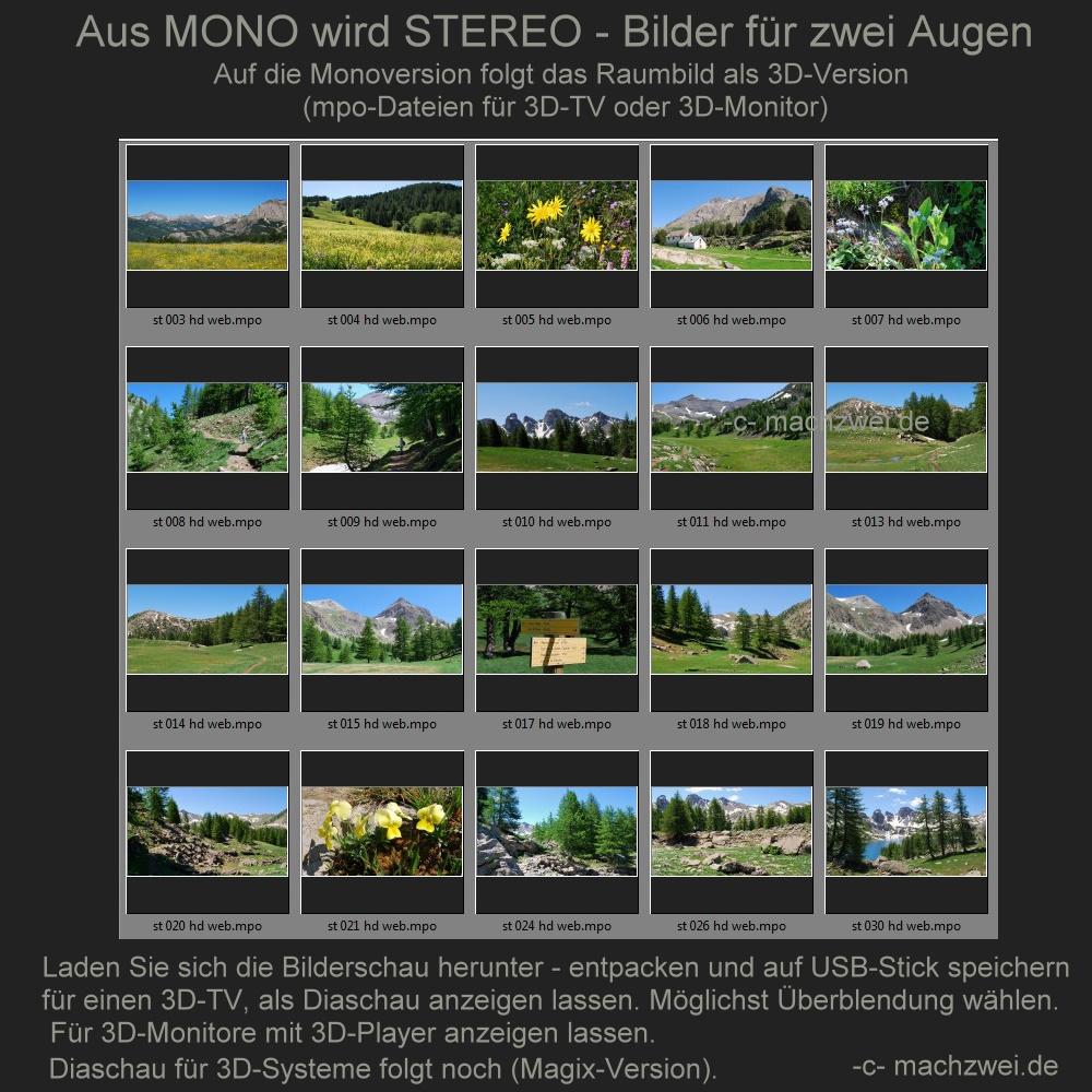 Mono wird zu Stereo: Überblendungen = Bilder- und Diaschau (2x20 mpo) in 3D