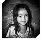 Monochrome girl in a colorless rain