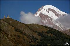Mont Kazbek et Eglise de Gergeti