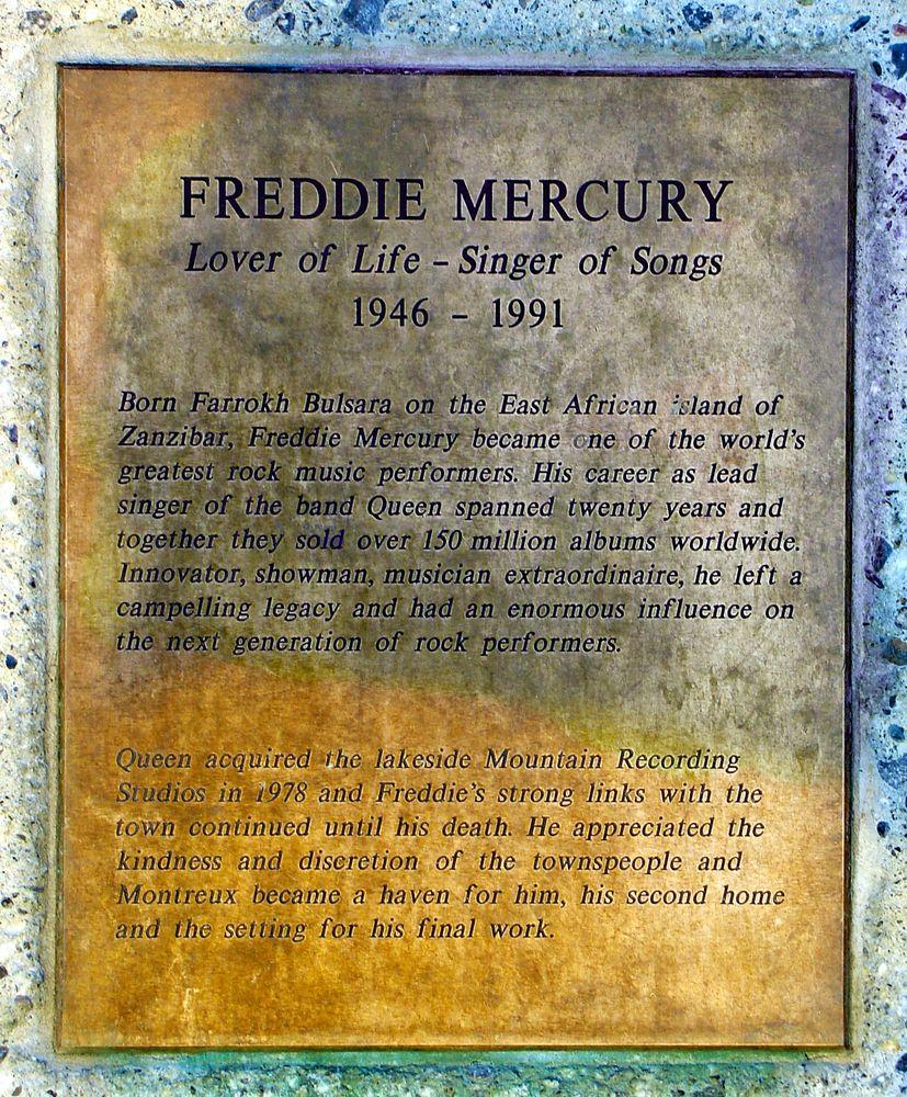 Montreux - Freddie Mercury Denkmal Erinnerungsplatte