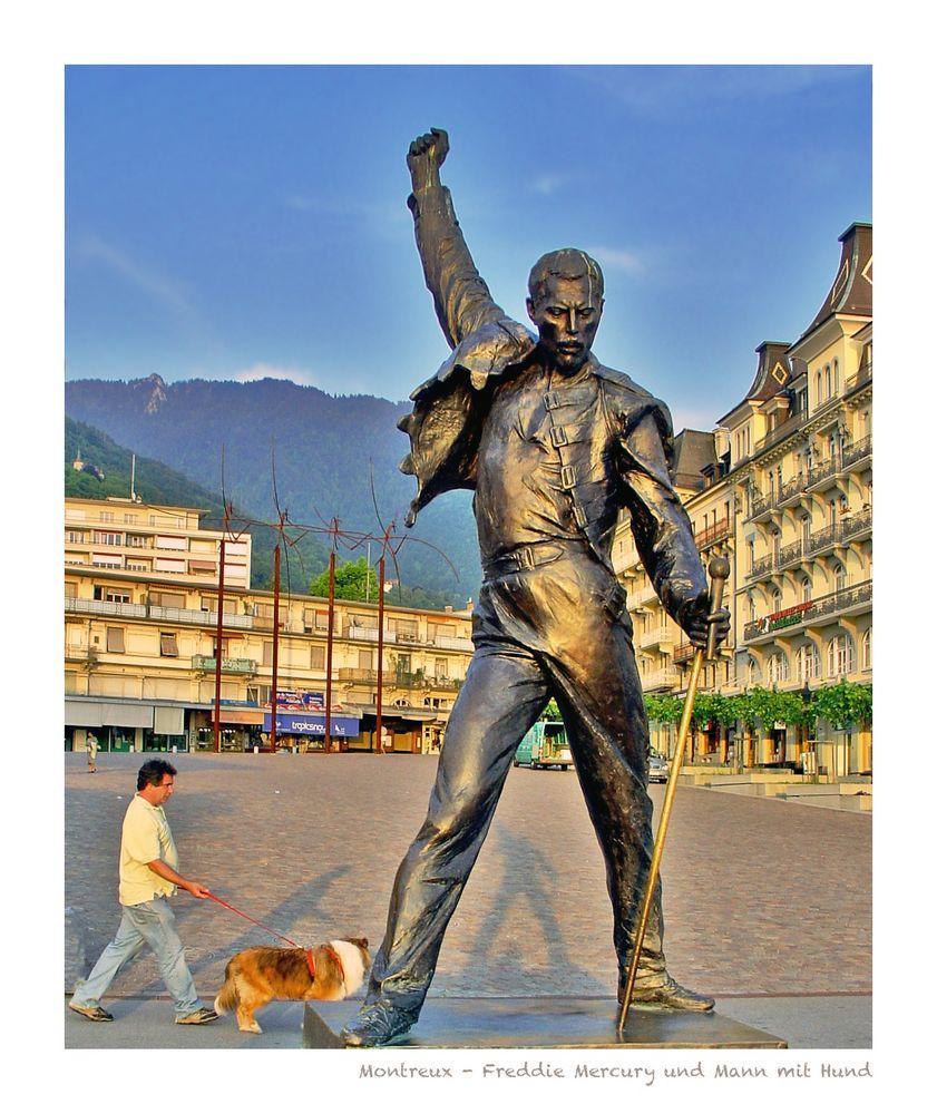 Montreux - Freddie Mercury und Mann mit Hund