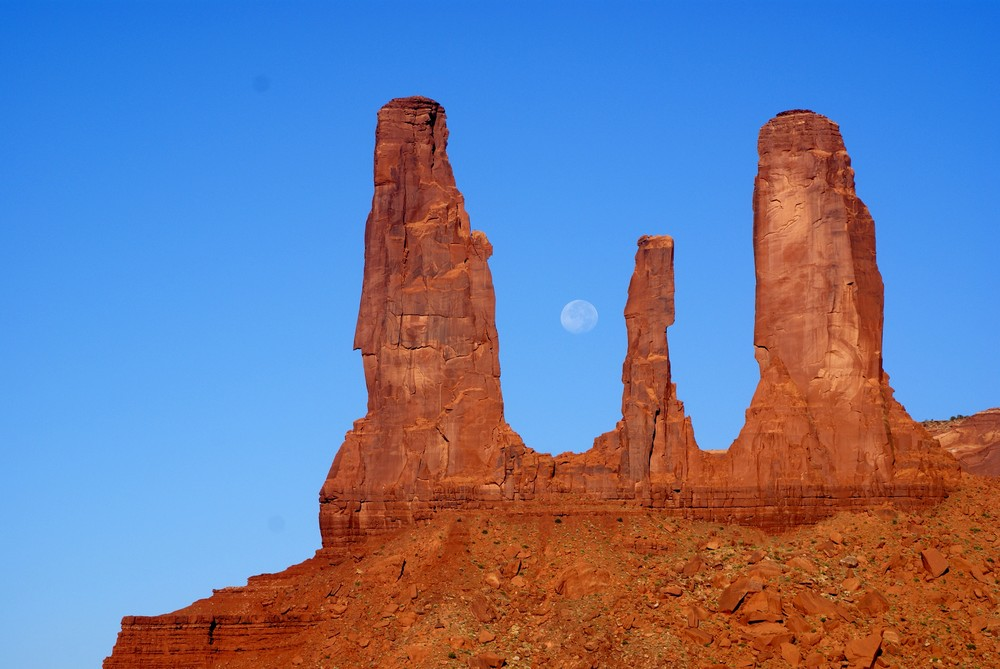 Moon at Monument Valley