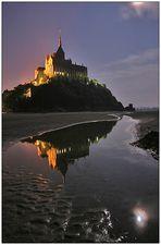 Moon over Mont Saint Michel