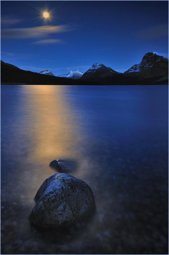 Moonrise at Bow Lake