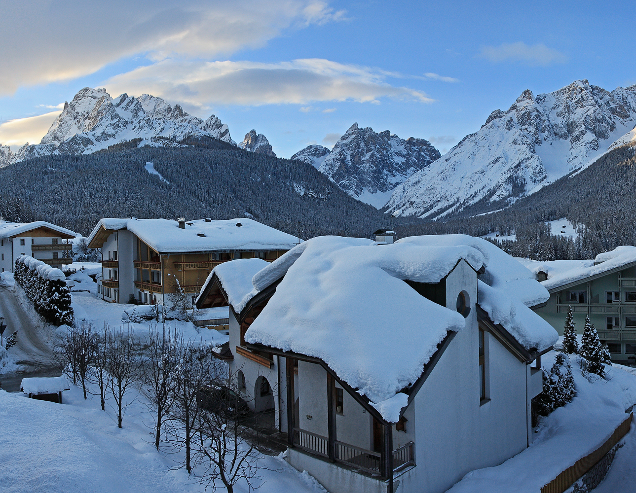 Moos und die Sextener Dolomiten im Winter