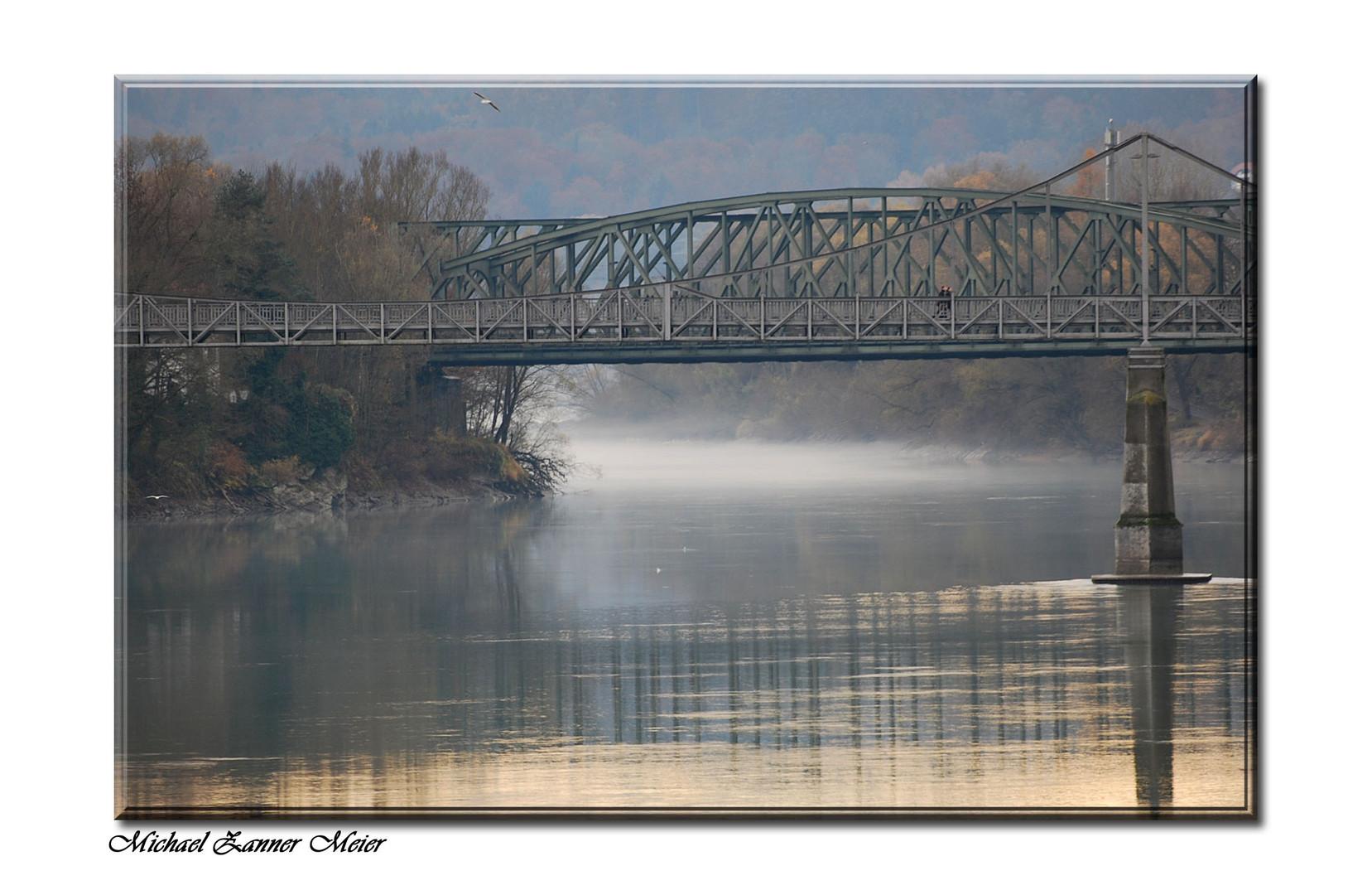 Morgen Nebel der Inn bei Passau