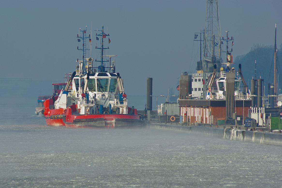 Morgennebel im Hamburger Hafen