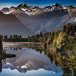 Morgens am Mount Cook und Mount Tasman in Neuseeland