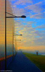 Morgens auf dem Weserdeich