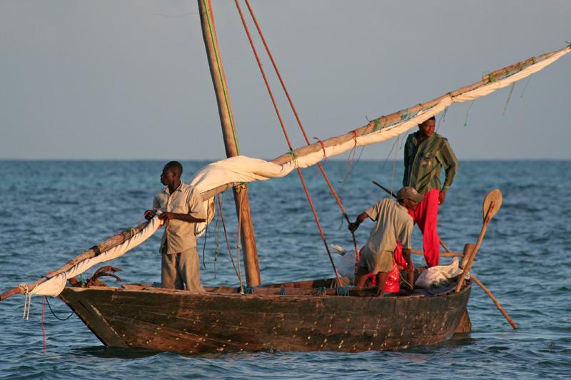 Morgens, die Fischer machen Feierabend.