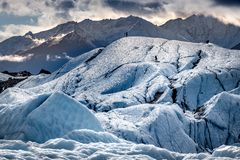 Morgens unterwegs auf dem Matanuska-Gletscher...