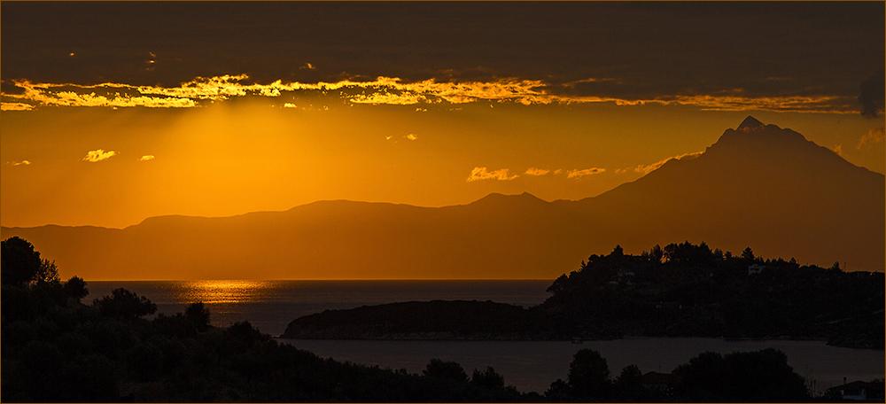 Morgenstimmung auf Sithonia, Blick zum Berg Athos
