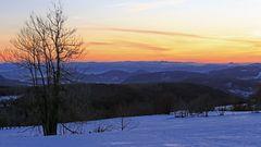 Morgrnrot und 123km Blick bis ins Riesengebirge von der Naklerovska vysina