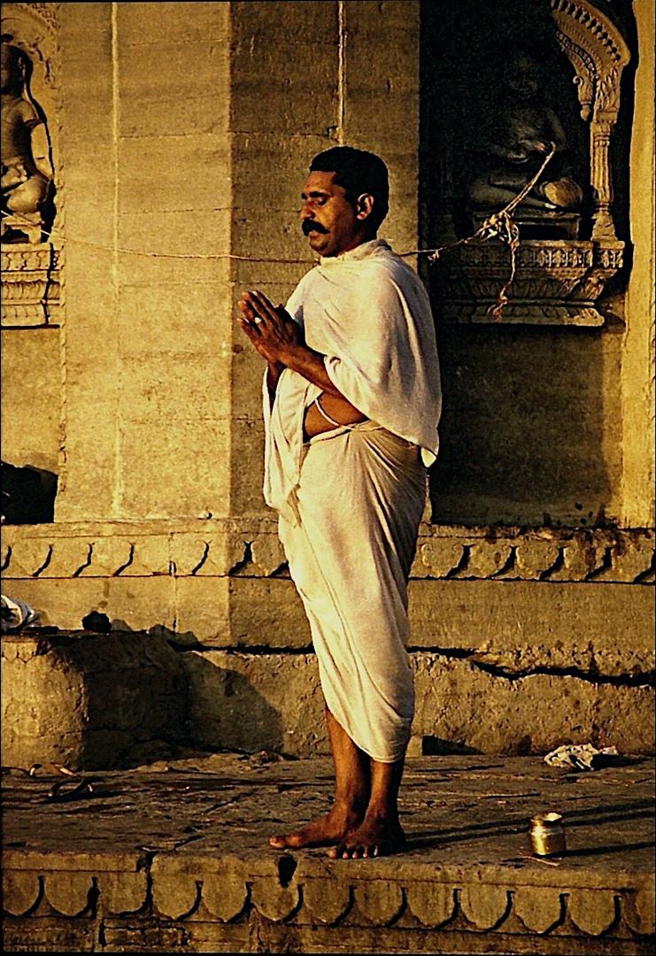 Morning prayer at the ghat of Varanasi