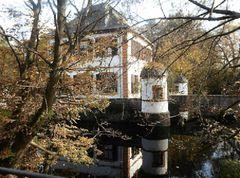 Mosaik Wasserburg Seligenstadt mit Herbstbäumen