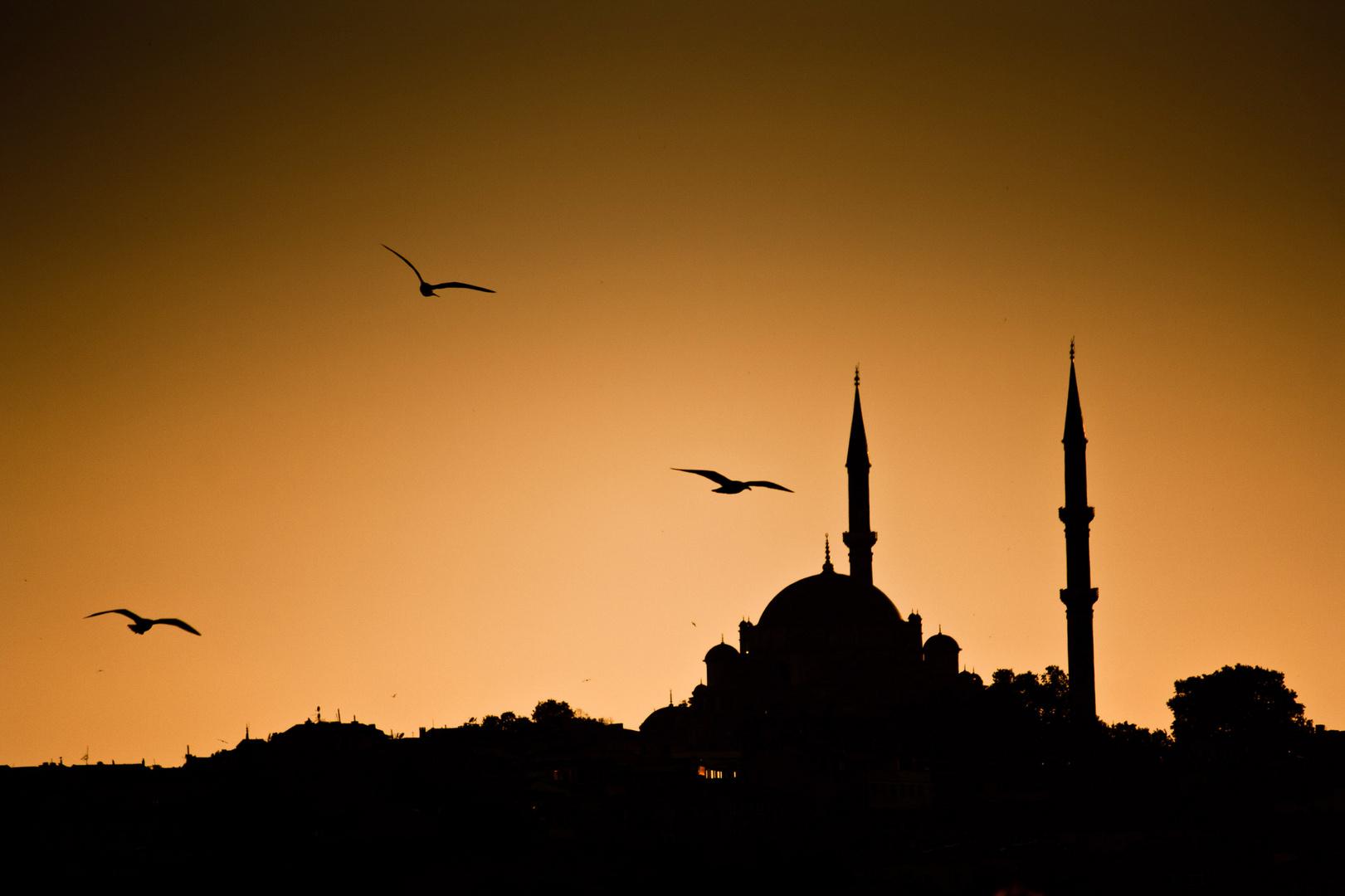 Moschee im Sonnenuntergang
