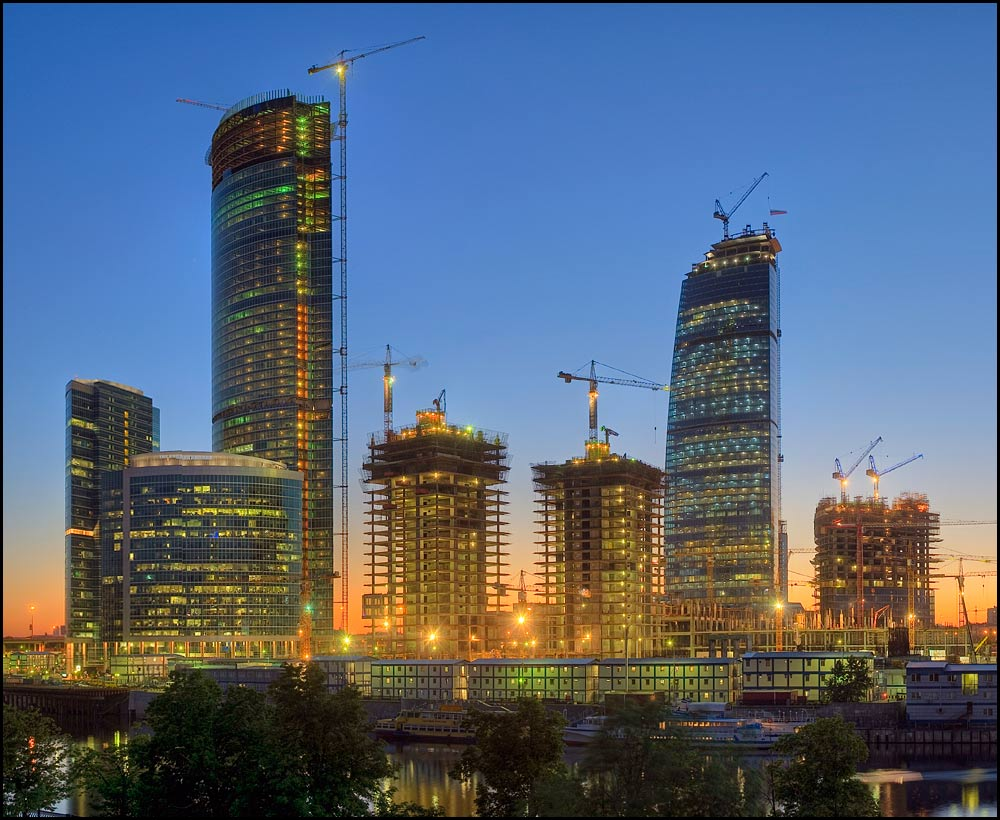 Moscow at sunset series. Future Moscow City