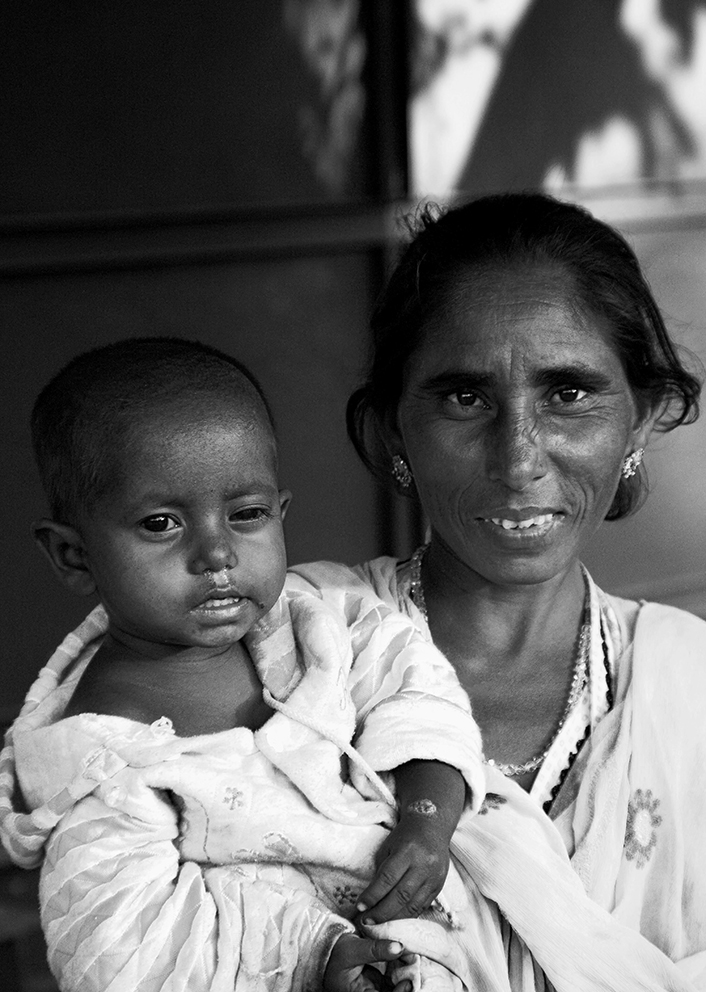 Mother and child in the street...