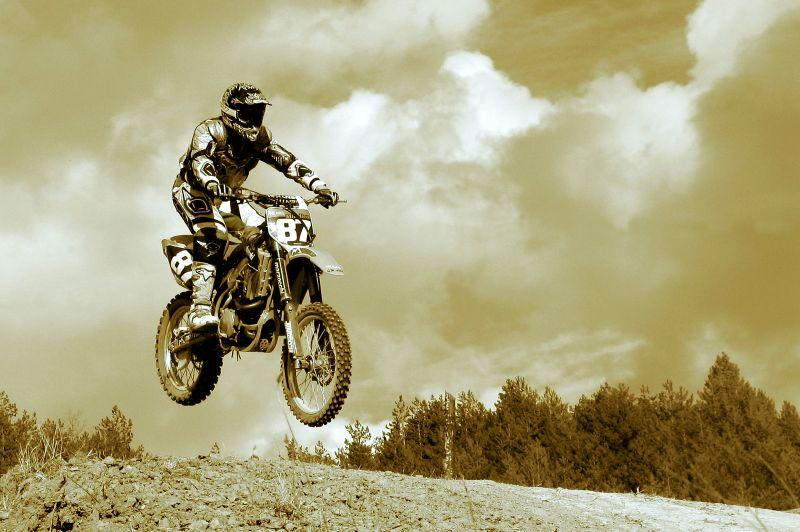 motocross in sepia