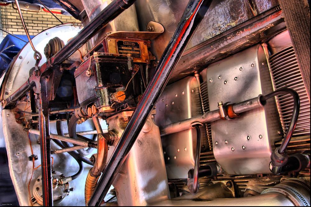 Motor eines Doppeldeckers