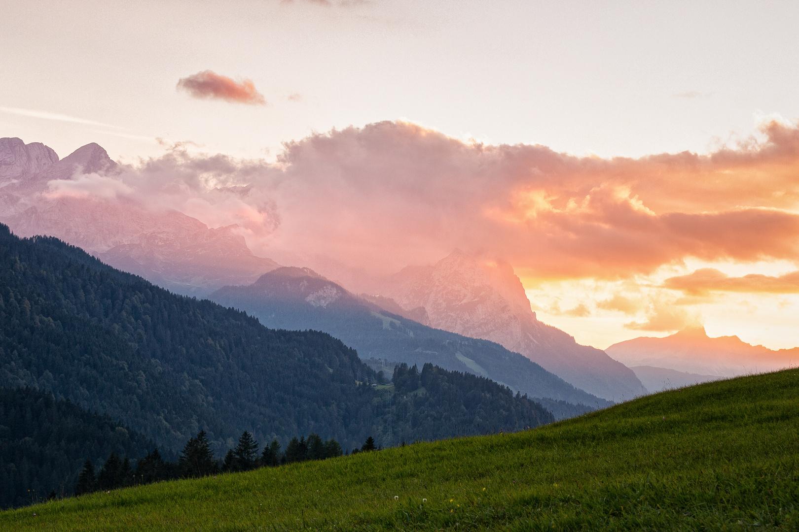 Mountains glow
