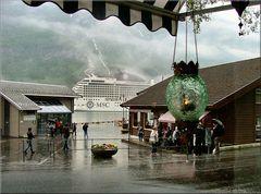 MSC Orchestra, Italian cruise ship at Geiranger,  through the window Café