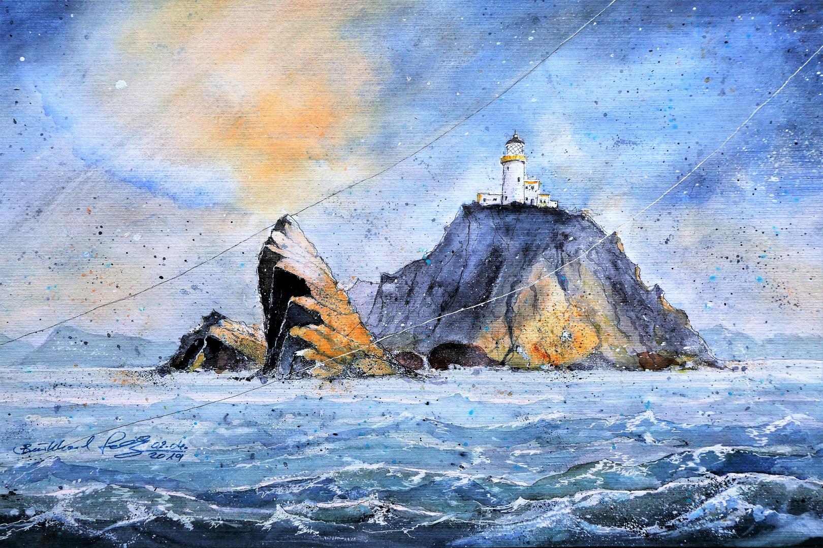 Muckle Flugga-Lighthouse das schottische Ende der Welt.