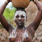 [ Mursi Tribe Woman with Basket ]